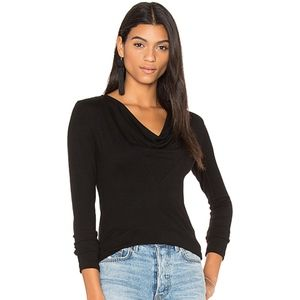 James Perse Cowl Neck Tee Size 0 Black